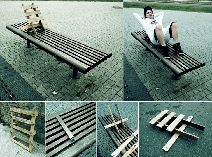 make public space work for you. Urban wild furniture by urban hacktivist Florian Rivière