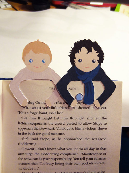 Sherlock & John Bookmark Set by Bethy Designs. Approx $6.37