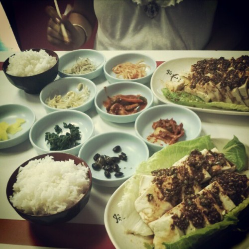 My stomach is happy. All that's missing is k-pop. (Taken with Instagram at Mama Kim's)