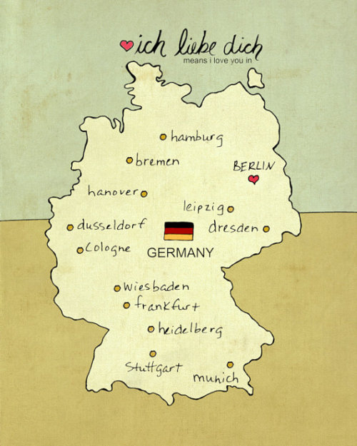 modernmaps:  Ich liebe dich Germany. Coming in a variety of colours, this wee little map of Germany can be purchased from Etsy.