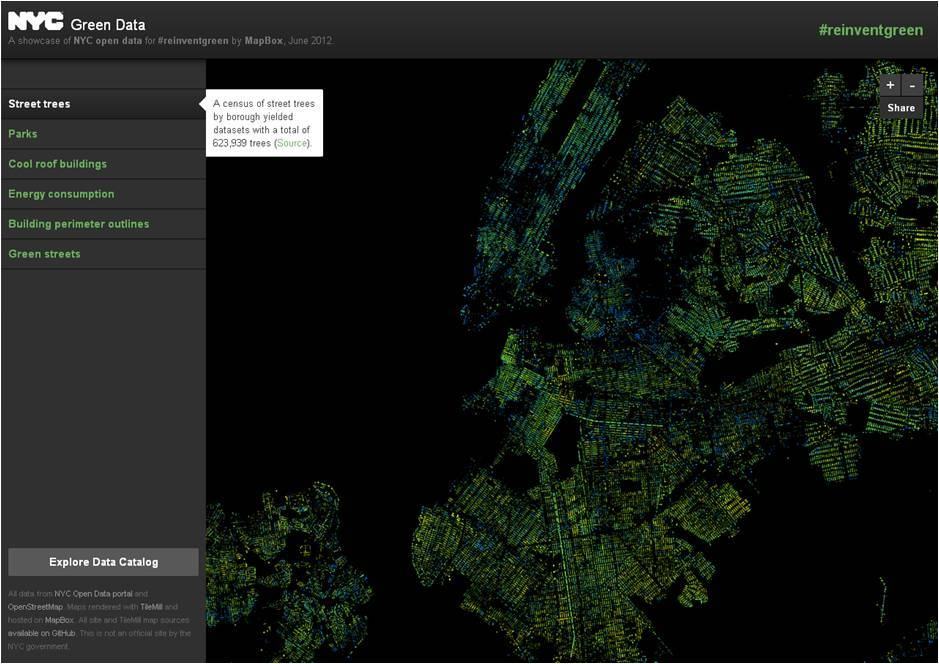 Gorgeous, interactive map of NYC's green data created by MapBox. MapBox has placed the code for this visualization on GitHub at https://github.com/mapbox/reinventgreen.