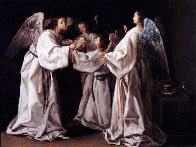 "Eugenio Cajés Saint Raymond Nonnatus Being Nourished by the Angels  Saint Raymond Nonnatus (Spanish: San Ramón Nonato)was a saint from Catalonia in Spain (1204–1240). His surname (Latin: Nonnatus, ""not born"") refers to his birth by Caesarean section (his mother died during childbirth). He is the patron saint of childbirth, midwives, children, pregnant women and priests who want to protect the secrecy of confession."