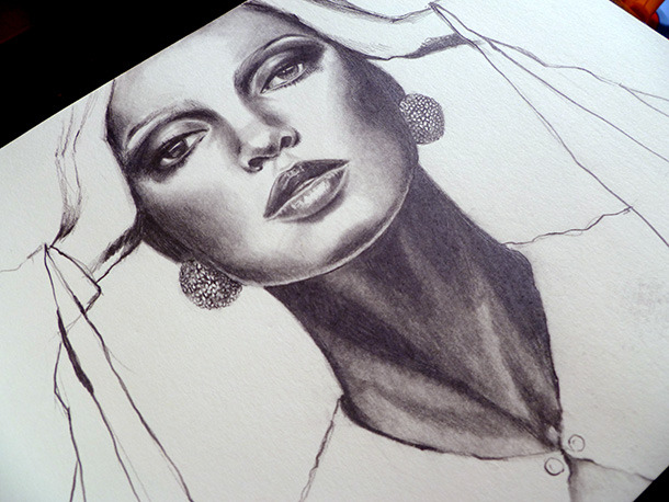 eatsleepdraw:  Diana Ross, a pencil study by Melissa Brunet Click thru to see more shots!