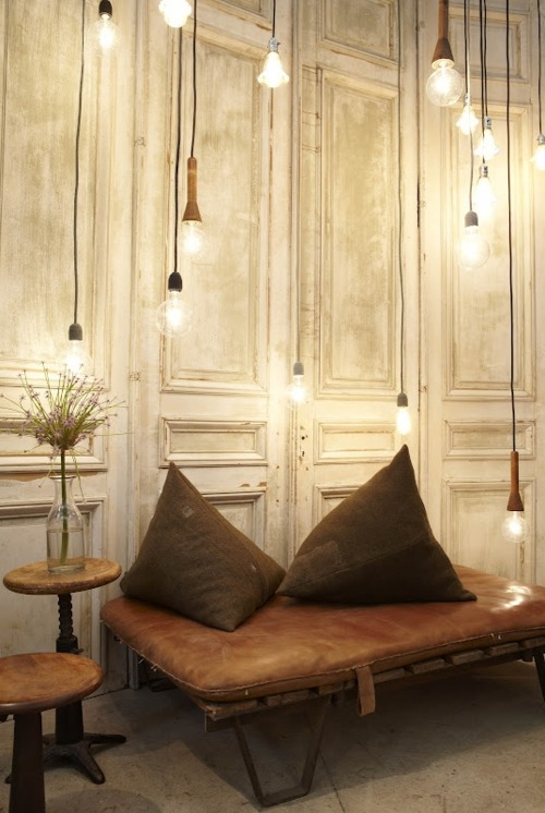 Beautiful bulb lighting concept suitable for a restaurant or lounge.