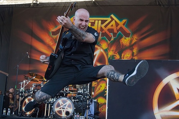 Anthrax  Scott Ian of Anthrax performs during the 2012 Rockstar Energy Drink Mayhem Festival at San Manuel Amphitheater in San Bernardino, California on June 30th, 2012.  Via RollingStone