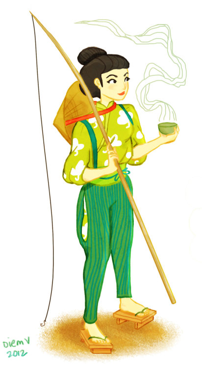 Sencha Green Tea by ~liminowl CHECK OUT ALL MY TEA ILLUSTRATIONS ON DEVIANTART OR ON TUMBLR.  I based this girl's outfit on this National Geographic photo of a Japanese farmer girl. She looked so fun and spunky!