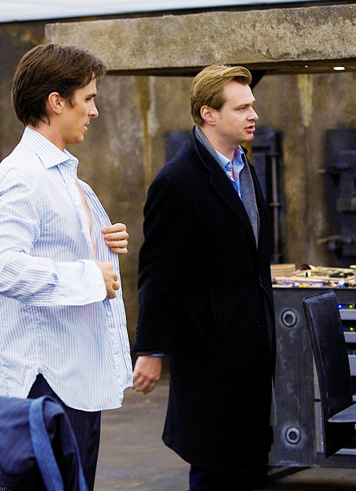 Christopher Nolan and Christian bale on the set of Batman the dark knight (2008)