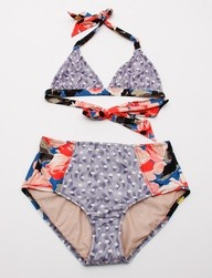 Suno Triangle Bikini Top- Floral Waves | http://bit.ly/M8TMq5