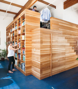 What an innovative use of wooden cladding in this Californian studio apartment.  Love it. Source: http://freshome.com/2012/07/04/wood-cladded-bedroom-design-integrated-in-original-californian-loft/