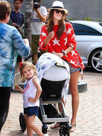 TOO ADORABLE! Model + Mom ALESSANDRA AMBROSIO and her cute daughter Anja hanging out in Malibu on the 4th of July. Some body is ready for her close up! xo @RozOonTheGo