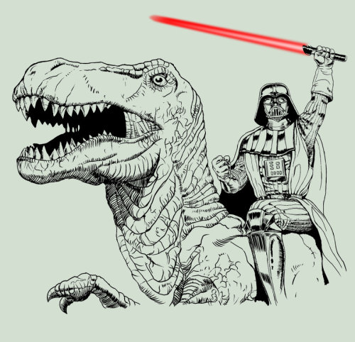 tiefighters:  Darth Vader Riding a T-Rex Created by Eugene Pasternaque Website || deviantART (via:walkingontheskywithasaber)