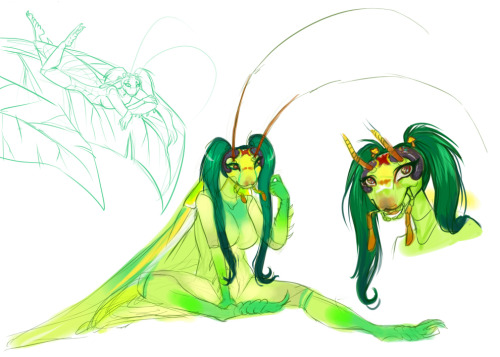 Banana cockroach, panchlora nivea girl concept doodles from a while ago.