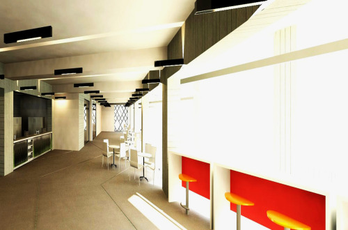 "Architectural Design and Structural Integration_ 2011 Test Render_cafe area EARTHQUAKE MUSEUM_/ ""EQ Kete"" - History education, memorial and preparedness"