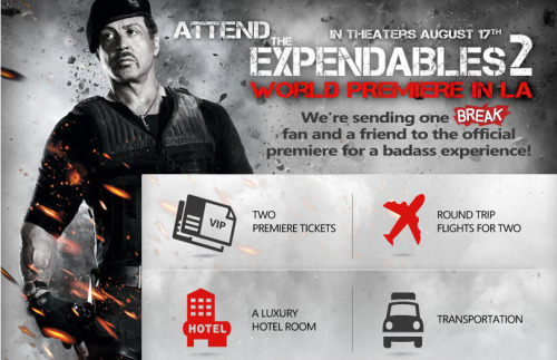 Win a trip to The Expendables 2 Premiere on Facebook!