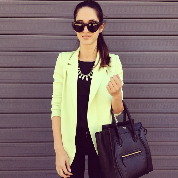 Yiota looking stylish as always in her Lime Blazer and Lime Rhinestone Necklace both available on SaboSkirt.com #saboskirt (Taken with Instagram)