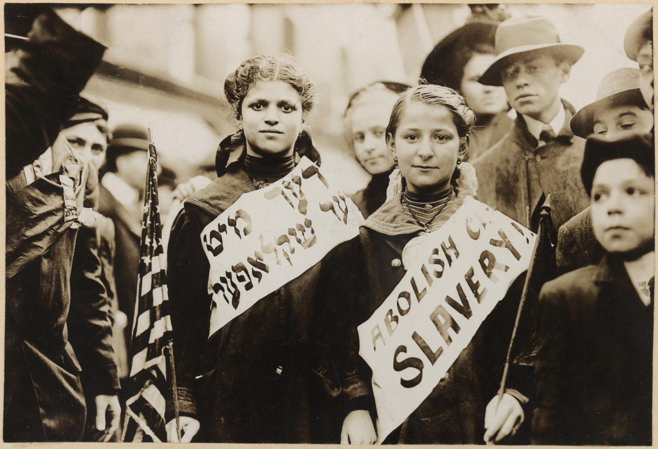 Jewish garment workers protesting child labor on Labor Day. New York, 1909.