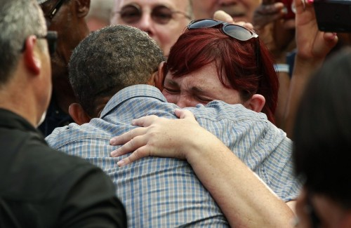 lipstick-feminists:  think-progress:  President Obama stopped shaking hands for a moment today so that he could embrace a sobbing woman whose uninsured sister recently died of colon cancer.  That moment when a picture of your President makes you cry.