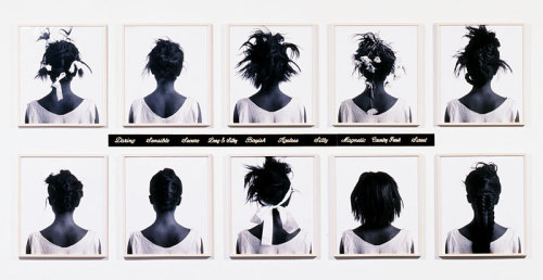 duhdoydorothy:  aladdinzgurl:  lil-island:  Lorna Simpson, Stereo Styles, 1988 her work is AMAZING  yes omg i wrote a paper on her exhibit at the moca in 10th grade i was like so inspired/in awe/etc  even in the 10th grade our lil baby was a tru genius