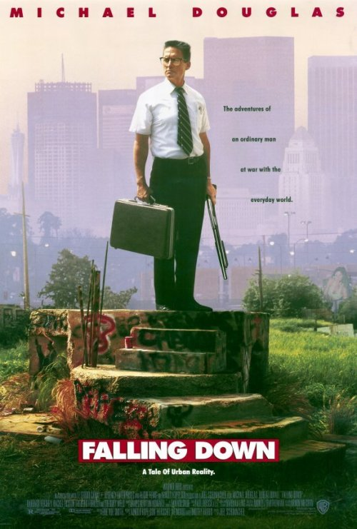 "Falling Down is one of the genre of angry white men films. In the film a ""regular guy"" decides to break the retraining order preventing him from seeing his ex and child. So he periodically harasses his ex-wife via telephone while crossing the city on foot. On the way he beats up people for affronting his sense of entitlement. Why the hell did I watch this movie?"