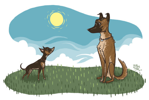 This is Penny and Radley. My sister's dog, and my family's dog. I drew this like, last year I think, but I never finished it, so I decided to do that today. Yay! It's nice to keep old stuff like this around.