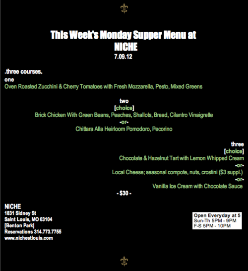 Monday Supper Menu July 09, 2012