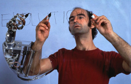 "Stelarc's piece ""Third Hand"" was controlled by muscle signals from his abdomen."
