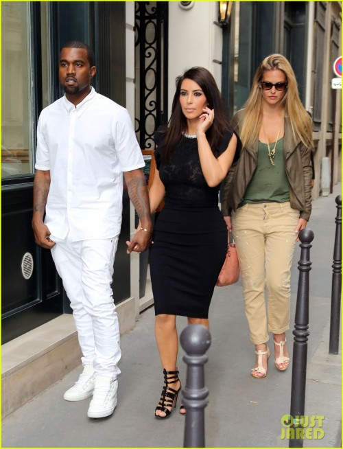 Kanye West and Kim Kardashian spotted with Israeli supermodel Bar Rafaeli in Paris.