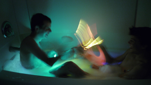 liaby:  My boyfriend and I just had a glow-stick bubble bath, complete with light saber fighting and a happy ending ;)