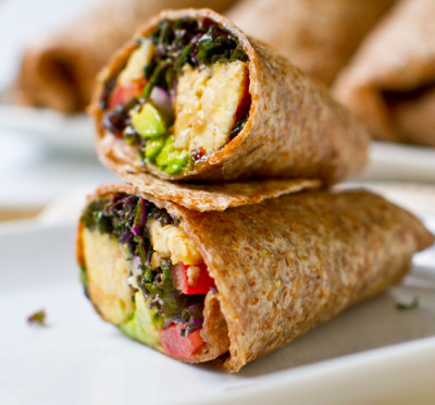 VEGAN DAILY RECIPE:  Tempeh Kale Avocado Wrap