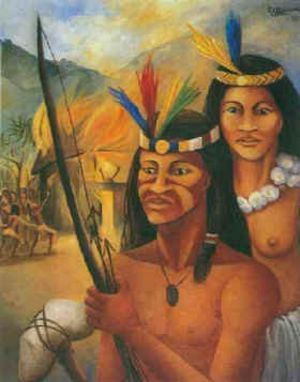 "Caonabo was a cacique, or Taino chiefs, on the island of Hayti (called Hispaniola by the Spanish). In the book The Peoples of the Caribbean: An Encyclopedia of Archeology and Traditional by Nicholas J. Saunders, Caonabo's name is defined as meaning ""He Who is Like Gold"", or ""King of the Golden House"", Cacique Caonabo took revenge on the Spaniards and brought Fort Navidad to ashes (being a little dramatic here, but the fact remains it was destroyed). In late winter of 1493, Columbus returned to Haiti, this time bringing with him a hoard of adventurers from Spain to settle in the eastern part of Hispaniola, since they arrived to find La Navidad annihilated. Haiti became divided, the Spaniards vs. the Taino Indians (Arawaks/Caribs). Caonabo more resentful than ever of the presence of the foreigners on his land took it up himself to lead the Tainos into a full-pledged revolt. Columbus recruited the services of Alonzo Ojeda, who tricked Caonabo into being taken as Columbus's prisoner (they used a trinket that the Tainos thought sacred as a ruse to lure him, and from there they bound the Arawak chief). (source)"