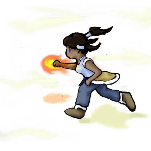 blitzsnow:  Chibi Korra running randomly in an expanse of WHITENESS.  IDK.  Practice.  I still hate lineart…  Well, I for one love your lineart. So simple and charming!