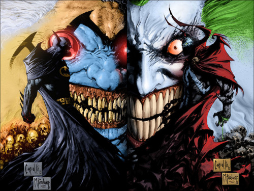 Batman, Spawn, Violator, Joker