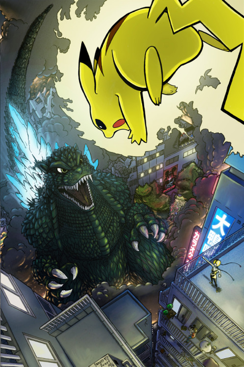 dotcore:  Godzilla vs Pikachu.by Jared P. Foust.  what