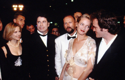 Movie history in the making: the cast of Pulp Fiction arrives at Cannes, 1994. John Travolta seems to know his life has totally changed.