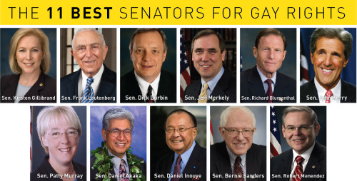 foreverliberal:  Check out Think Progress' 11 most pro-gay US Senators.  Also check out their list of the 11 most pro-gay US Representatives, and the 7 most anti-gay US Representatives. — Brittany