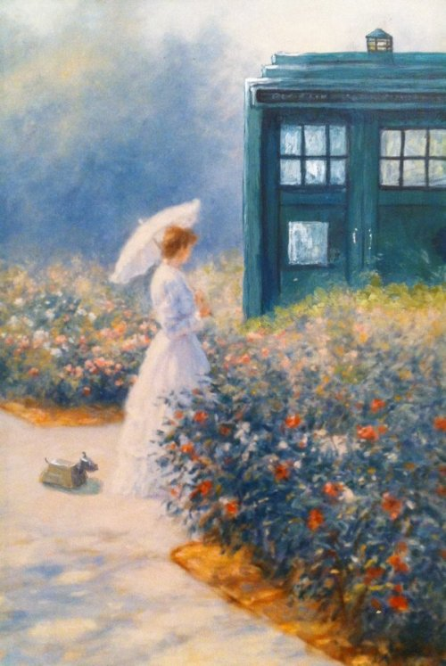 becks28nz:   Woman and TARDIS in garden by ~csgirl