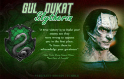 Starfleet-Houses » Gul Dukat: As one of the main antagonists in Star Trek DS9, Gul Dukat is pretty exemplary of the evil Slytherin type, being ruthless, vengeful, picky with his loyalties, underhanded, determined, and man does he know how to hold a grudge. He is sorted into Slytherin House.