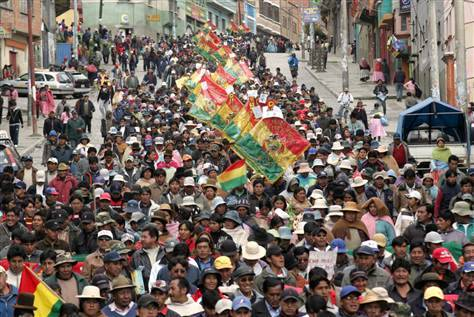 thepeoplesrecord:  Victory for Bolivian indigenous protesters! July 06, 2012 The Bolivian government says it has reached a deal with indigenous leaders to hold a referendum on a highway project that has sparked massive protests. Thousands of indigenous protesters marched on the capital, La Paz, last week to oppose the government's plans for the road, which would cut through a national park and indigenous land. Similar protests led Bolivian President Evo Morales to partly halt construction last year. The Bolivian government says the referendum will be held later this month. Source