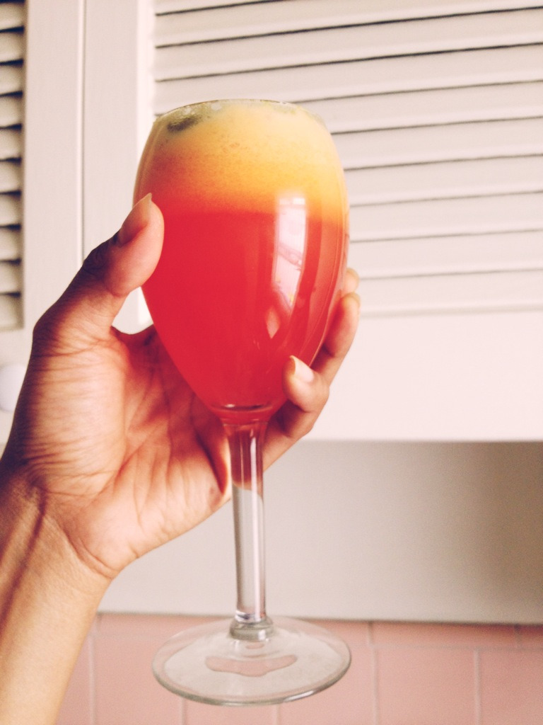 Apple strawberry carrot orange juice! amazing and classy in a wine glass