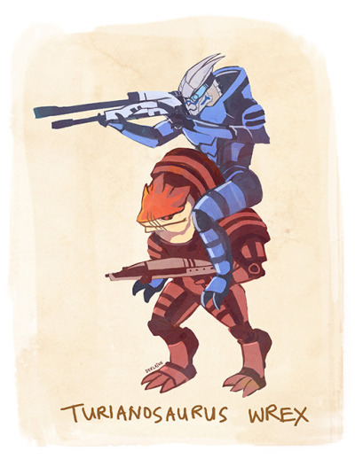 commanderpumpkin:  derlaine:  TURIANOSAURUS WREX HE IS THE BADASSEST SQUADMATE ON THE NORMANDY SAVING THE GALAXY WOOP WOOP I made a shirt because I am a slore like that http://www.redbubble.com/people/derlaine/works/9064293-turianosaurus-wrex  This definitely made my day <3