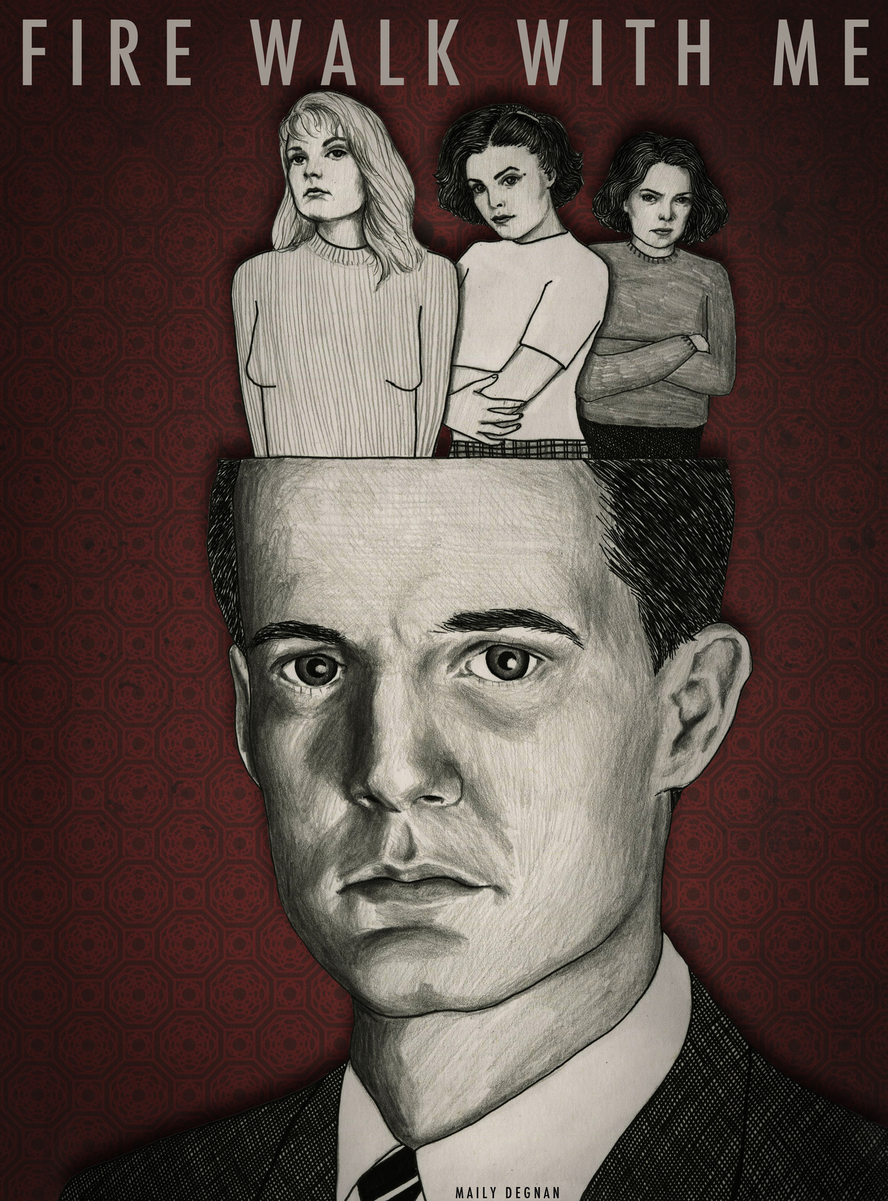 felt like doing something more realistic.   Dale Cooper portrait. 2012, ink, graphite, digital © Mai Ly Degnan