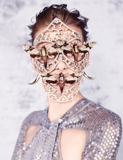 Gold, diamonds, sequins & moths. Elza Luijendijk for Dazed & Confused, 2012.