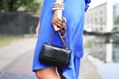 stylecrusaderoutfits:  borne by Elise Berger dress, Tess Van Ghert bag and bracelets. May 2011 - London. CLICK HERE TO GET HER LOOK!