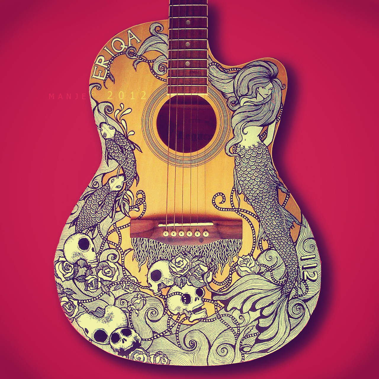 yelyahwilliams:  mindymaygan:  eatsleepdraw:  Guitar art by Manje  WHAT. I want this.  mannnnn, so do i!