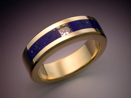 18k gold man's ring with Diamond and Lapis by Metamorphosisjewelry