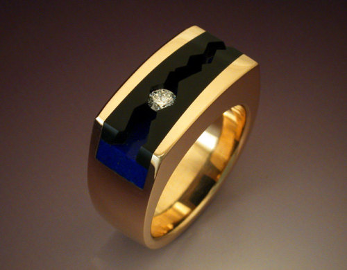 Man's ring with Black Jade, Lapis & Diamond by Metamorphosisjewelry