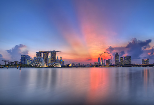 """Sunset @ Marina Bay"" by Partha Roy"
