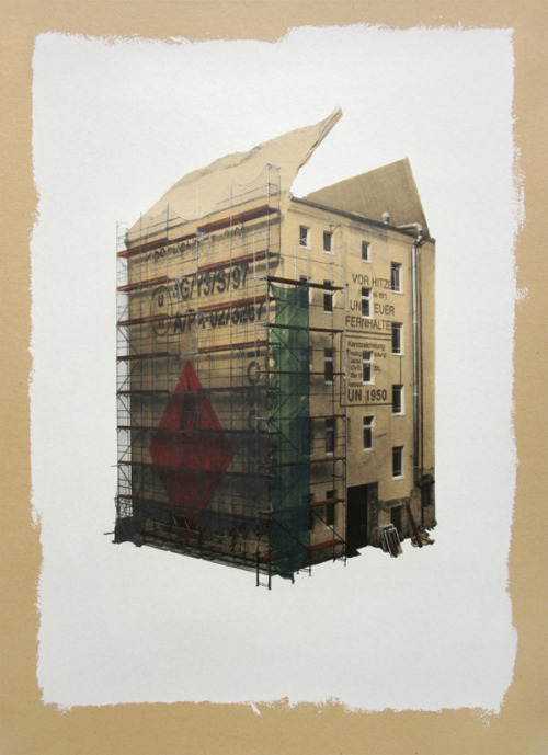 German artist EVOL is known for creating detailed structures or urban cityscapes out of found material. His work below was created using spray paint and stencils on flat sheets of recycled cardboard. (via Urban Cityscapes Made With Cardboard and Spray Paint - Enpundit)
