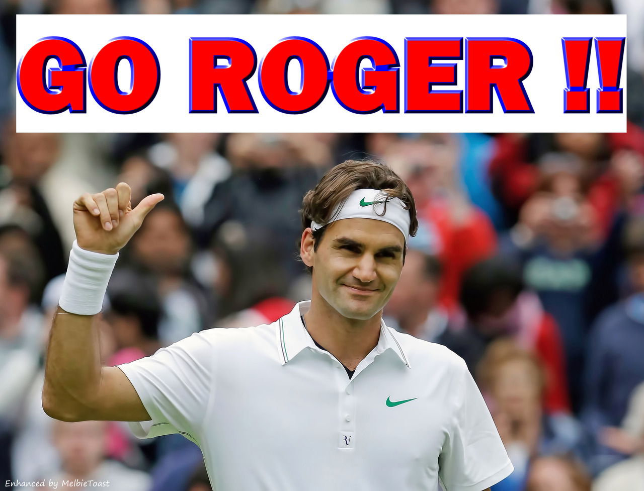 melbietoast:  In about 3 hours, Roger Federer will face top rival Novak DJokovic in his Wimbledon Semi-Final!! I can hardly wait and I so want Roger to WIN!!!! Some facts to consider: Roger Federer is known for brilliance, for elegance, for wondrous shots that few players in history have been able to execute. Federer, 30, is widely hailed as the greatest tennis player of all time, boasting a record haul of 16 Grand Slam titles. In a few hours, Roger will play his semi-final at Wimbledon against Novak Djokovic. A record-equaling seventh Wimbledon title for Roger would also see him topple Djokovic, 25, to be #1 (he is already guaranteed to leapfrog Rafa Nadal into 2nd place). Also, if Roger wins Wimbledon, he will match Pete Sampras for the total number of weeks spent at No.1 – he's currently on 285. GO ROGER !!!  ROGER BEAT DJOKOVIC !!!!! Yippeeeee!!!! GO ROGER!!!