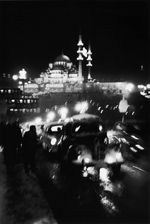 traffic on the old galata bridge, turkey, 1956 photo by ara güler/ magnum photos,  from ara güler's istanbul